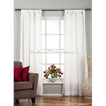 White Tab Top Velvet  Curtain / Drape / Panel  - 84
