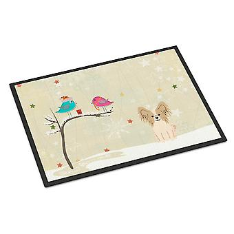 Christmas Presents between Friends Papillon Sable White Indoor or Outdoor Mat 24