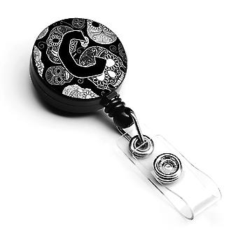 Letter C Day of the Dead Skulls Black Retractable Badge Reel