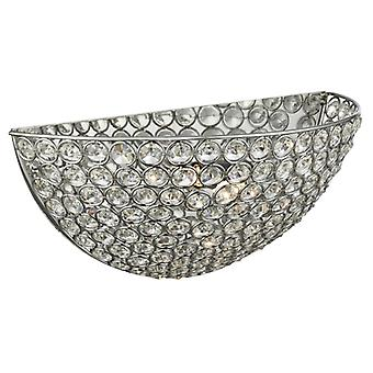 Chantilly Chrome And Crystal Glass Wall Light - Searchlight 6161cc