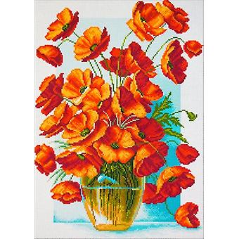 Collection D'Art Stamped Cross Stitch Kit 37X49cm-Poppies In Vase CDPA1439