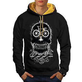 Tête Bike Rider Skull hommes noir (capot or) contraste Hoodie | Wellcoda