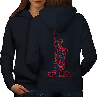 New York Statue Freedom Women NavyHoodie Back | Wellcoda