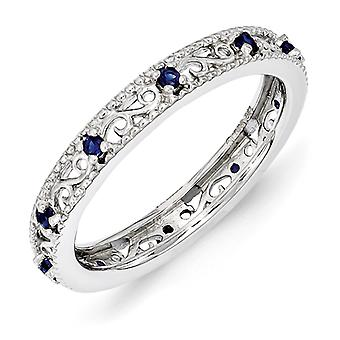3mm Sterling Silver Polished Prong set Rhodium-plated Stackable Expressions Created Sapphire Ring - Ring Size: 5 to 10
