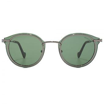 Moncler Full Rim Round Sunglasses In Shiny Gunmetal