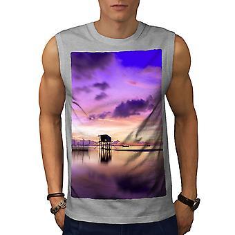 Beautiful Sky Sea Men GreySleeveless T-shirt   Wellcoda
