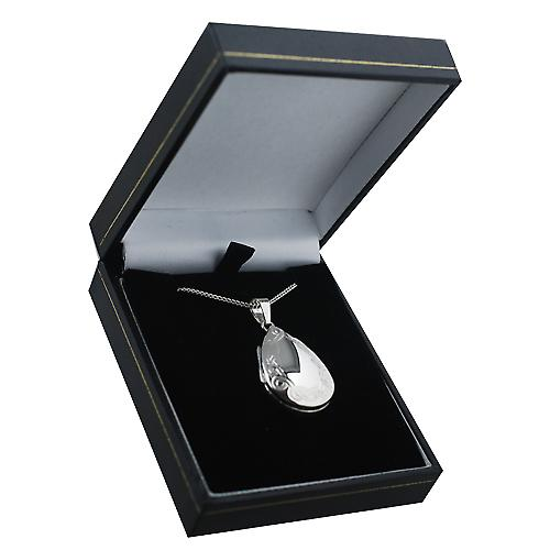 Silver 30x20mm celtic engraved tear drop Locket with Curb chain