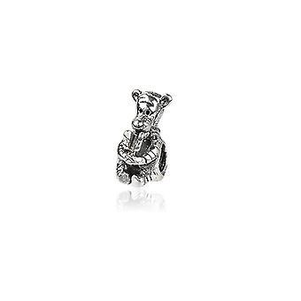 Mały miś w 925 koraliki srebrny charms
