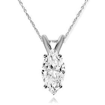 1/4ct Marquise Solitaire 14K Diamond White Gold Pendant