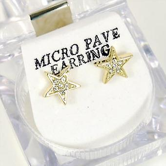 Bling Mirco pave earrings - GOLD STAR 8 mm