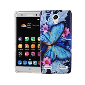 Cell phone case for ZTE blade L7 cover case protective bag motif slim silicone TPU blue butterfly