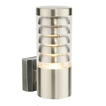 Endon Lighting Tango Brushed Stainless Steel And Clear Plastic IP44 Wall Light