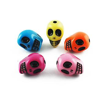 Packet 20 x Mixed Acrylic 10 x 13mm Skull Beads HA25525