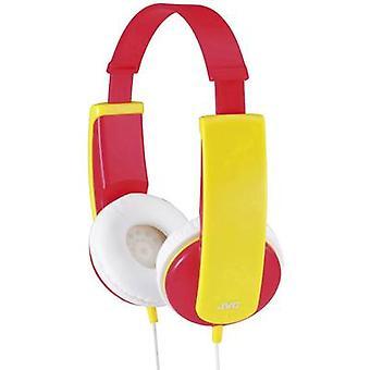 JVC HA-KD5-R-E kinderen koptelefoon op-oor Volume limiter, lichtgewicht hoofdband rood, geel