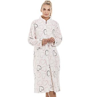 Camille White Supersoft Fleece Pink And Grey Heart Print Zip Up Lounger