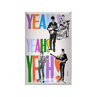 Beatles Yeah Yeah Yeah Embossed Steel Sign