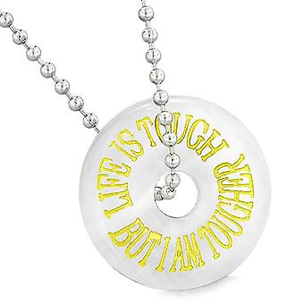 Inspiration Life is Tough But I am Tougher Amulet Lucky Donut White Simulated Cats Eye Necklace