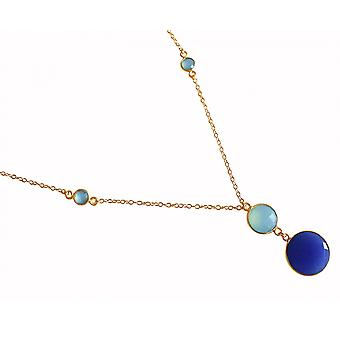 Gemshine - damas - collar - colgante - plata 925 plateado - Calcedonia - zafiro - verde - azul - 45 cm