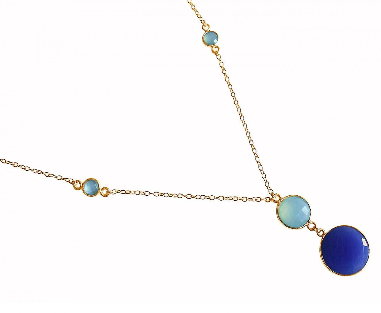 Gemshine - femmes - Halskette - Anhänger - 925 argent Veroret - Chalzedon - Saphir - Meeresvert - bleu - 45cm