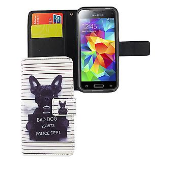 Mobile phone case pouch for mobile Samsung Galaxy S5 mini evil dog white
