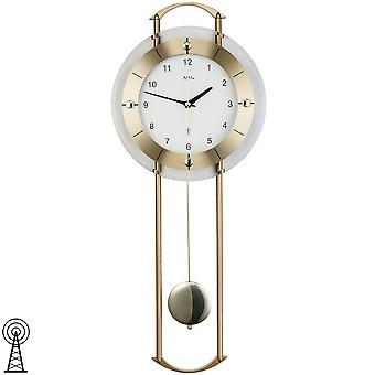 Pendulum clock faceted mineral glass by AMS metal rods