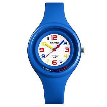SKMEI blauer analogen Kinder Uhr übersichtliches Display Zahlen Farben zuerst ansehen rotierende Perlen niedlich sehen perfekt für Kinder ab 5 Jahren