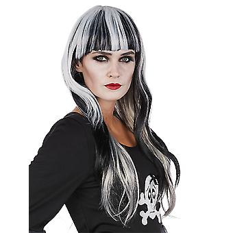 Mystique black long hair wig white streaks straight pony Halloween accessory