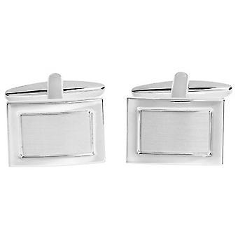 David Van Hagen lucido spazzolato rettangolo gemelli - argento