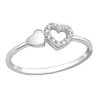 Heart - 925 Sterling Silver Jewelled Rings - W36883x