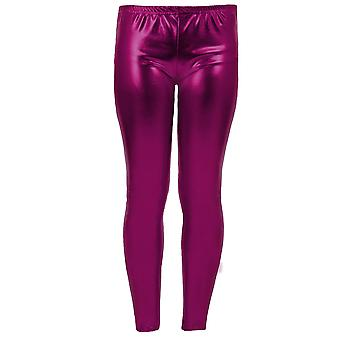 Mädchen Kinder Metallic Shiny Kinder Wet Look Footless Party Disco Pants Leggings