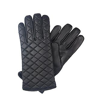 Laura Quilted Leather Gloves in Black