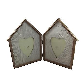 Gisela Graham Wooden Double Folding Photo Frame