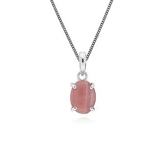 Gemondo Sterling Silver Rhodochrosite Single Stone Oval 45cm Necklace
