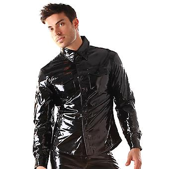 Honour Men's T-Shirt Glossy Black PVC Top Chest Patch Pockets Longsleeved