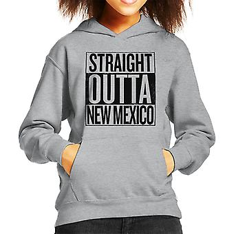 Black Text Straight Outta New Mexico US States Kid's Hooded Sweatshirt