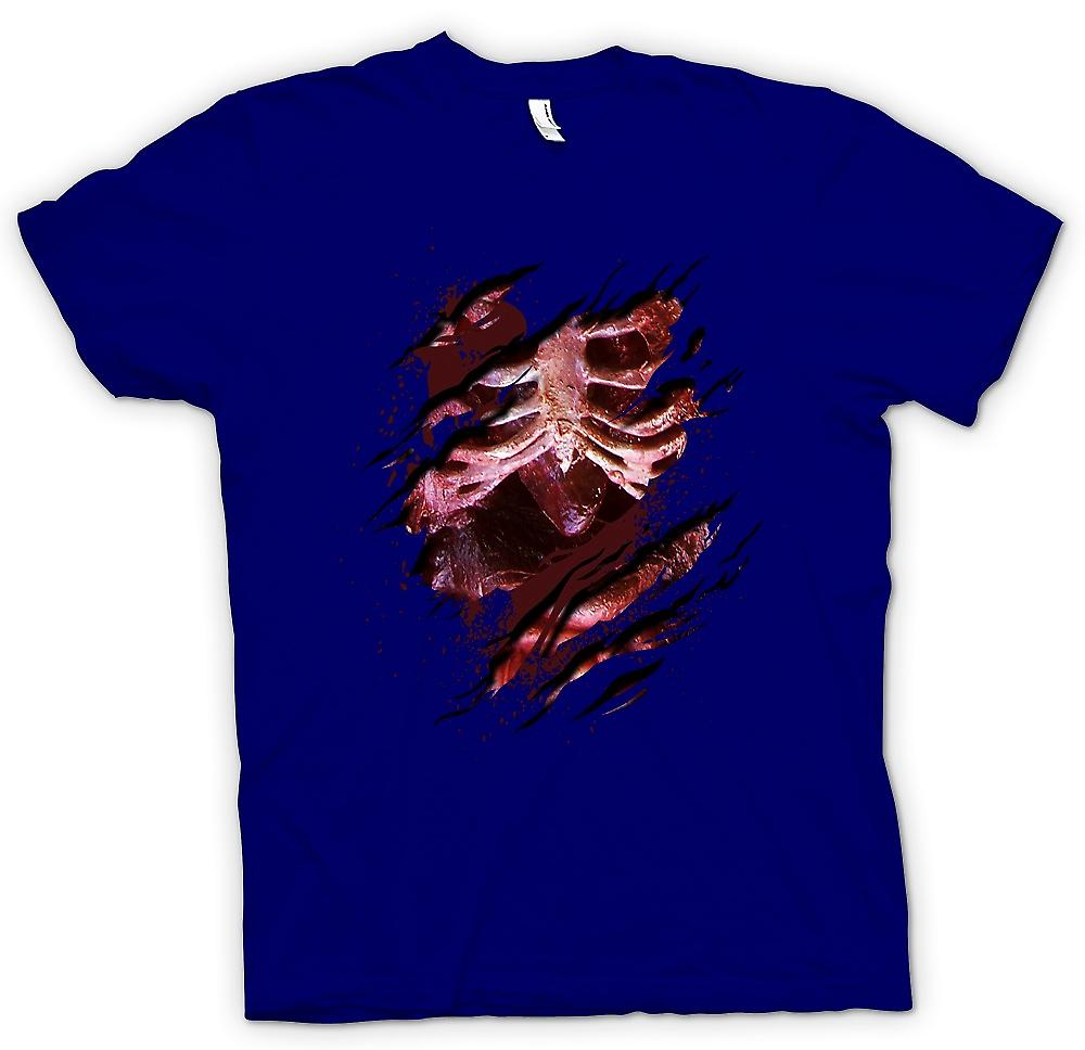 Camiseta para hombre - Zombie esqueleto no muerto corazón rasgado diseño