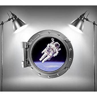 Стикер стены V2 полный цвет астронавт иллюминатор