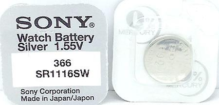 Sony 366 (sr1116sw) 1.55v Silver Oxide (0%hg) Mercury Free Watch Battery - Made In Japan