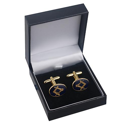Hard Gold Plated 14x19mm oval cold cure enamel Masonic swivel Cufflinks