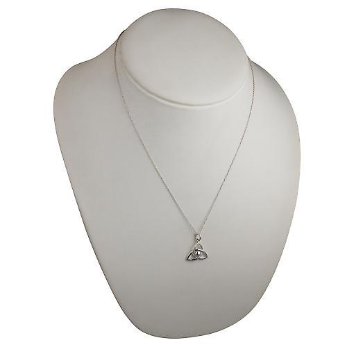 Silver 18x20mm Trinity knot Pendant with a Curb chain