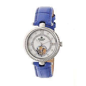 Kaiserin Stella automatische semi-Skeleton Zifferblatt Lederband Watch - lila/weiss