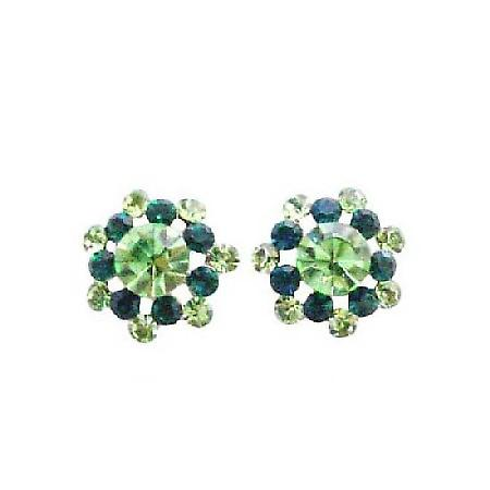 Peridot & Emerald Green Crystals Pierced Surgical Post Fashion Earring