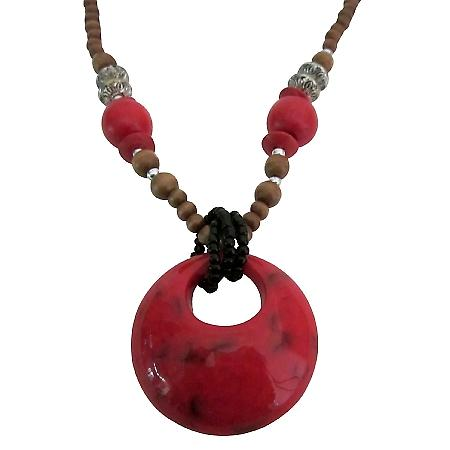 Wooden Long Necklace Coral Red Beads w/ Coral Red Colour Round Pendant