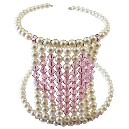 Valentine Gift Rose Crystals Heart Cuff Bracelet Handmade Jewelry