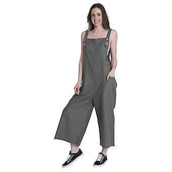 Traje de lino en verde señoras Dungaree All-in-one Short