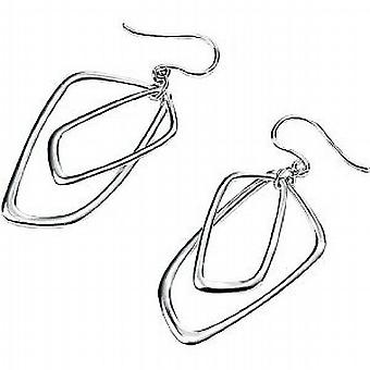 Elements Sterling Silver Double Open Square Earrings