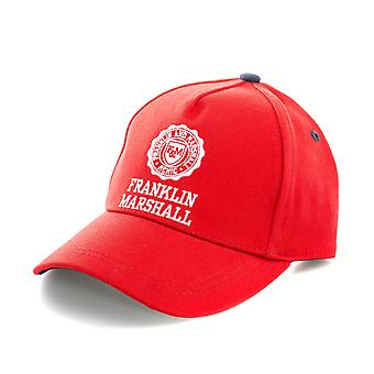 Mens Franklin And Marshall Logo Cap In Red- Curved Brim- Button To Top-