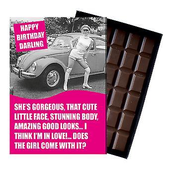 Grappige gift van de verjaardag voor Volkeswagen VW kever eigenaar klassieke auto chocolade wenskaart CDL228