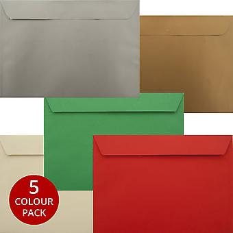 Xmas Pack 50 Xmas C6 Peel/Seal Luxury 120gsm Envelopes
