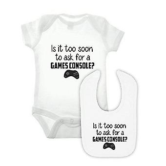 Game console babygrow and bib double pack